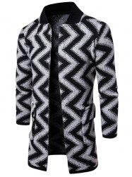 Open Front Slub Knit Chevron Stripe Tall Coat - LIGHT GRAY