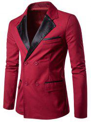 PU Leather Panel Edging Double Breasted Blazer - CLARET M
