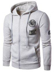 Fleece Embroidered Applique Zip Up Hoodie