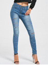 Skinny Layered Ripped Jeans