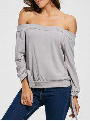 Tie Cuff Off The Shoulder Top
