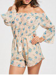 Off The Shoulder Floral Chiffon Romper - Rose Clair S