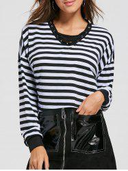 Lace Up Striped Long Sleeve Crop Top