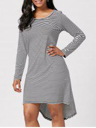 Cut Out Back Striped High Low Dress