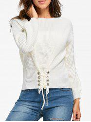 Boat Neck Lace-up Long Sleeve Sweater