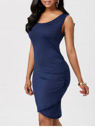 Ruched Mini Bodycon Dress - Bleu Cadette