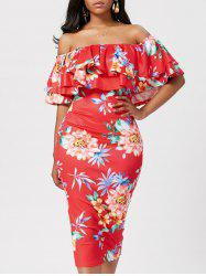 Ruffle Off The Shoulder Bodycon Floral Dress - RED S