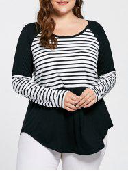 Plus Size Striped Raglan Sleeve Top