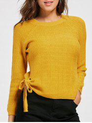 Crew Neck Self Tie Knit Sweater -