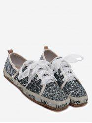Square Toe Sequined Sneakers - GRAY 37