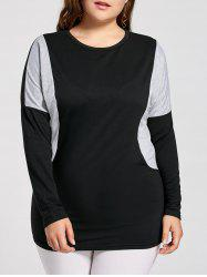 Plus Size Color Block Batwing Sleeve T-shirt