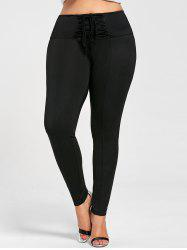 Plus Size Lace Up Tight Pants