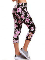Criss Cross Floral Cropped Yoga Leggings - BLACK XL