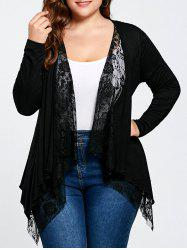 Plus Size Lace Trim Open Front Cardigan - BLACK