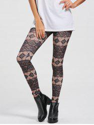 Patterned Geometric Print Skinny Leggings - COLORMIX XL