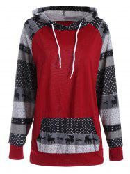 Plus Size Pocket Christmas Deer Raglan Sleeve Hoodie - RED