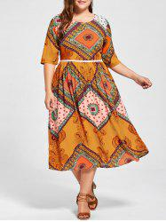 Plus Size Indian Print Midi Flowing Dress