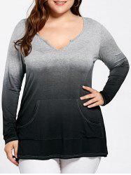 Long Sleeve Kangaroo Pocket Ombre Plus Size Top