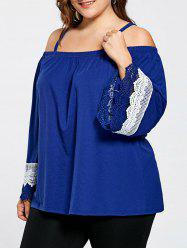 Lace Panel Flare Sleeve Cold Shoulder Plus Size Top