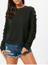 Ripped Long Raglan Sleeve T-shirt