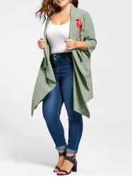 Plus Size Embroidered Flowy Drape Cardigan - PEA GREEN