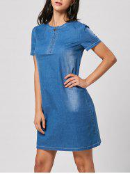 Short Sleeve Denim Shift Dress