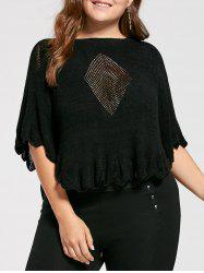 Feather Pattern Scalloped Plus Size Poncho Sweater