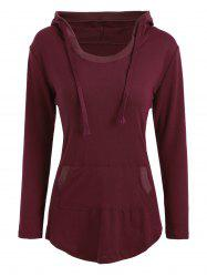Casual Slim Fit Kangaroo Pocket Hoodie - Rouge Vineux