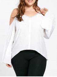 Plus Size Dew Shoulder Bell Sleeve Blouse