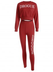 Drogue Print Crop Sweatshirt and Skinny Pants - Rouge S