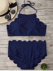Halter High Waisted Scalloped Bikini Set - DEEP BLUE L