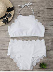 Halter High Waisted Scalloped Bikini Set