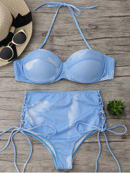 Lace Up High Waist Bikini Set - BLUE S
