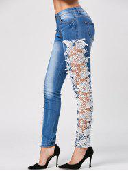 Trendy Style Crochet Flower Splicing Jeans For Women -