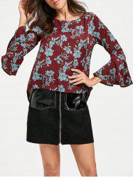 Flare Sleeve Floral Chiffon Top -