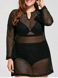 Plus Size Long Sleeve Mesh Cover Up Tunic Top -