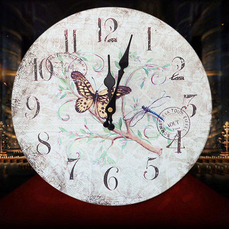 Flower Butterfly Wood Round Analog Wall ClockHOME<br><br>Size: 30*30CM; Color: WHITE; Clock Type: Wall Clocks; Time Display: Analog; Style: Classical; Theme: Floral/Botanicals; Material: Wood; Weight: 0.3844kg; Package Contents: 1 x Clock;
