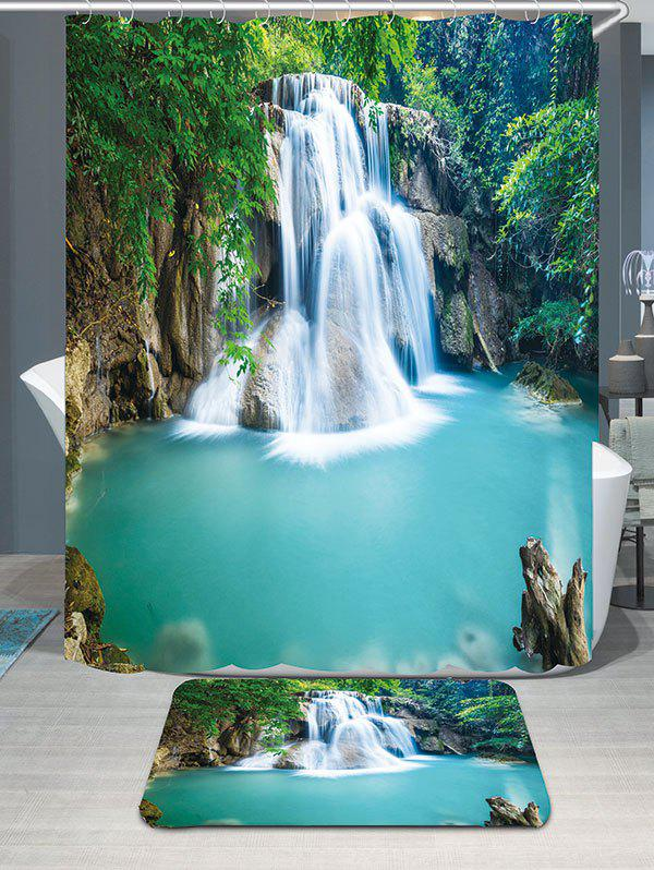 Waterfall Forest Showerproof Bathroom Curtain Carpet SetHOME<br><br>Size: W79 INCH * L71 INCH; Color: GREEN; Products Type: Shower Curtains; Materials: Coral FLeece,Polyester; Pattern: Forest,Water Drop; Style: Natural; Size: 200 x 180 + 40 x 60 (CM); Number of Hook Holes: 12; Package Contents: 1 x Shower Curtain 1 x Rug 1 x Hooks (Set);
