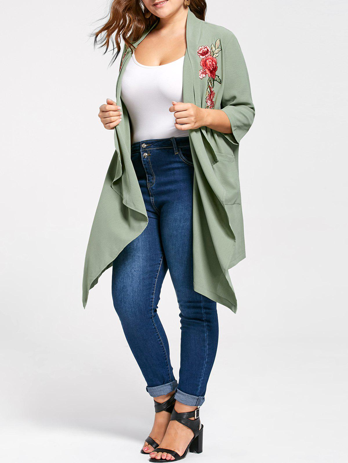 Plus Size Embroidered Flowy Drape CardiganWOMEN<br><br>Size: 4XL; Color: PEA GREEN; Type: Cardigans; Material: Polyester; Sleeve Length: Three Quarter; Collar: Collarless; Style: Fashion; Season: Fall,Spring,Summer; Pattern Type: Floral; Weight: 0.4000kg; Package Contents: 1 x Cardigan;