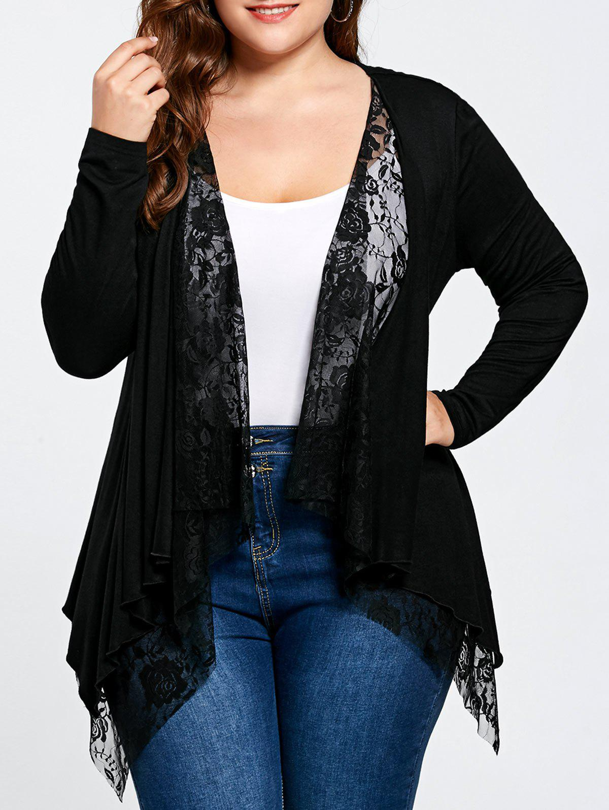 Plus Size Lace Trim Open Front CardiganWOMEN<br><br>Size: 5XL; Color: BLACK; Type: Cardigans; Material: Rayon,Spandex; Sleeve Length: Full; Collar: Collarless; Style: Fashion; Season: Fall,Spring,Summer; Pattern Type: Solid; Weight: 0.3400kg; Package Contents: 1 x Cardigan;