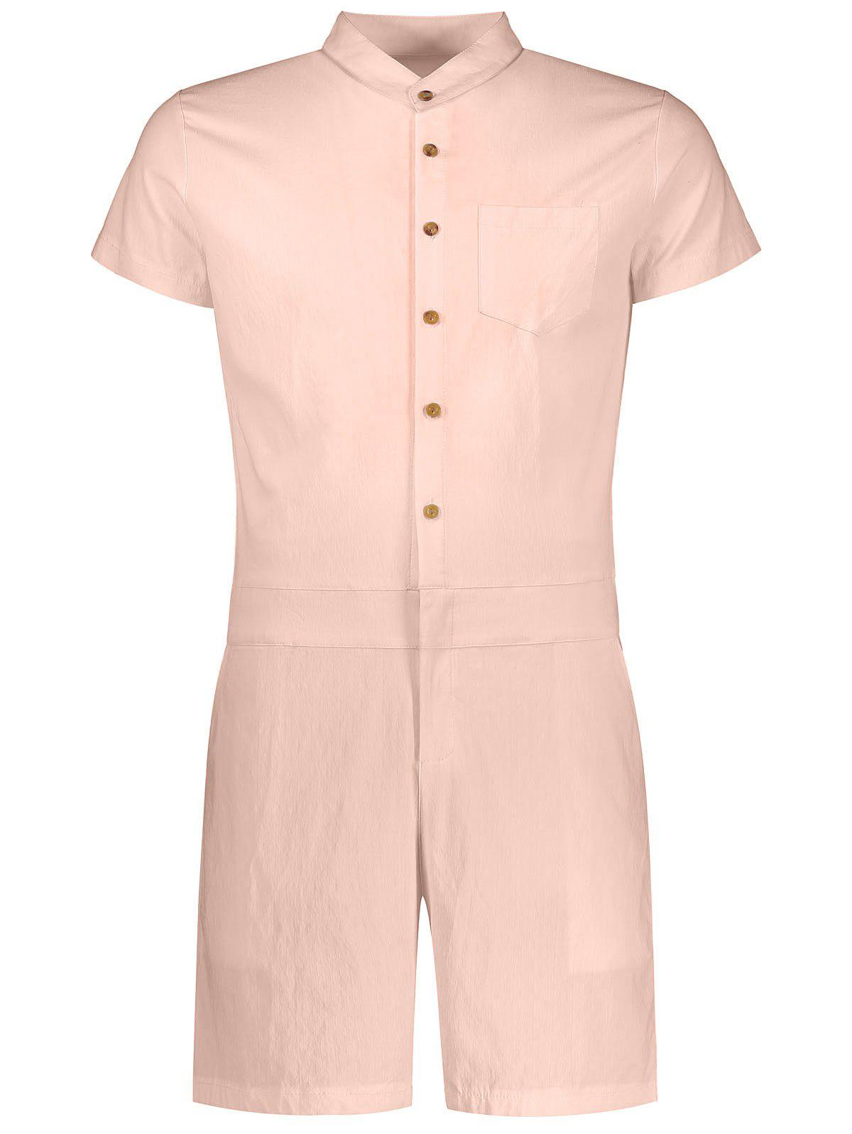 Shops Single Breasted Short Sleeve Romper