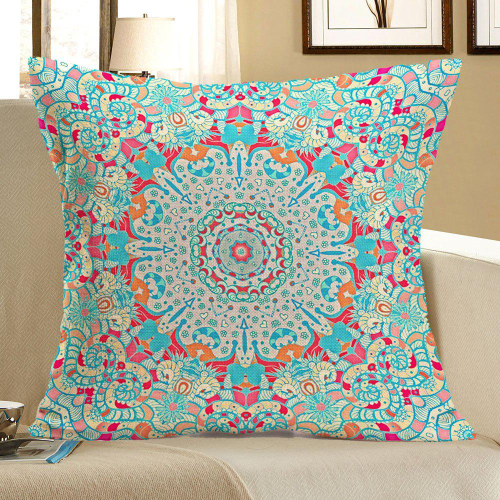 Ethnic Geometry Printed Linen Pillow CaseHOME<br><br>Size: W18 INCH * L18 INCH; Color: COLORFUL; Material: Linen; Pattern: Geometric; Style: Ethnic; Shape: Square; Weight: 0.0800kg; Package Contents: 1 x Pillow Case;