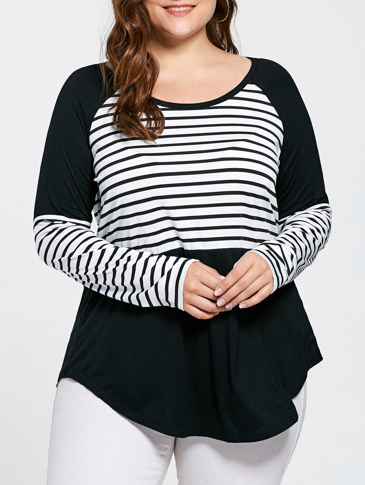 Plus Size Striped Raglan Sleeve TopWOMEN<br><br>Size: 5XL; Color: STRIPE; Material: Cotton,Spandex; Shirt Length: Long; Sleeve Length: Full; Collar: Scoop Neck; Style: Casual; Season: Fall,Spring; Pattern Type: Striped; Weight: 0.3500kg; Package Contents: 1 x T-shirt;
