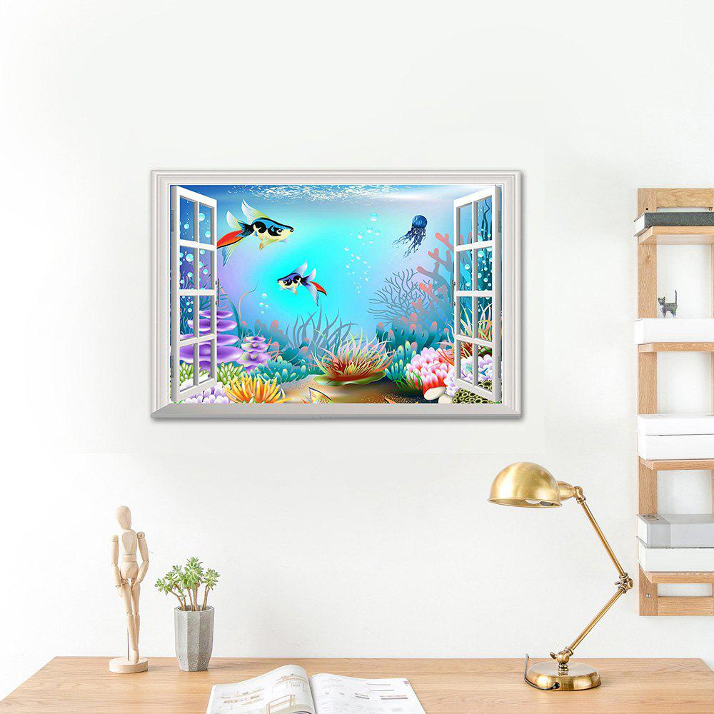 Cartoon Ocean World 3D Vinyl Wall StickerHOME<br><br>Size: 48.5*72CM; Color: COLORMIX; Wall Sticker Type: 3D Wall Stickers; Functions: Decorative Wall Stickers; Theme: Animals,Cartoon; Material: PVC; Feature: Removable; Weight: 0.1600kg; Package Contents: 1 x Wall Sticker;