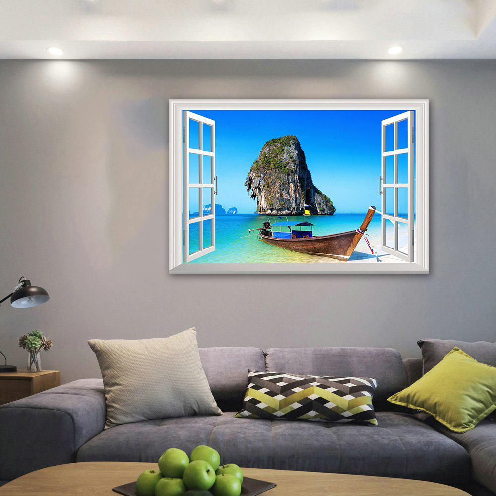 3D Window  Bedroom Wall StickerHOME<br><br>Size: 48.5*72CM; Color: COLORMIX; Wall Sticker Type: 3D Wall Stickers; Functions: Decorative Wall Stickers; Theme: Beach Theme,Landscape; Material: PVC; Feature: Removable; Weight: 0.1472kg; Package Contents: 1 x Wall Sticker;