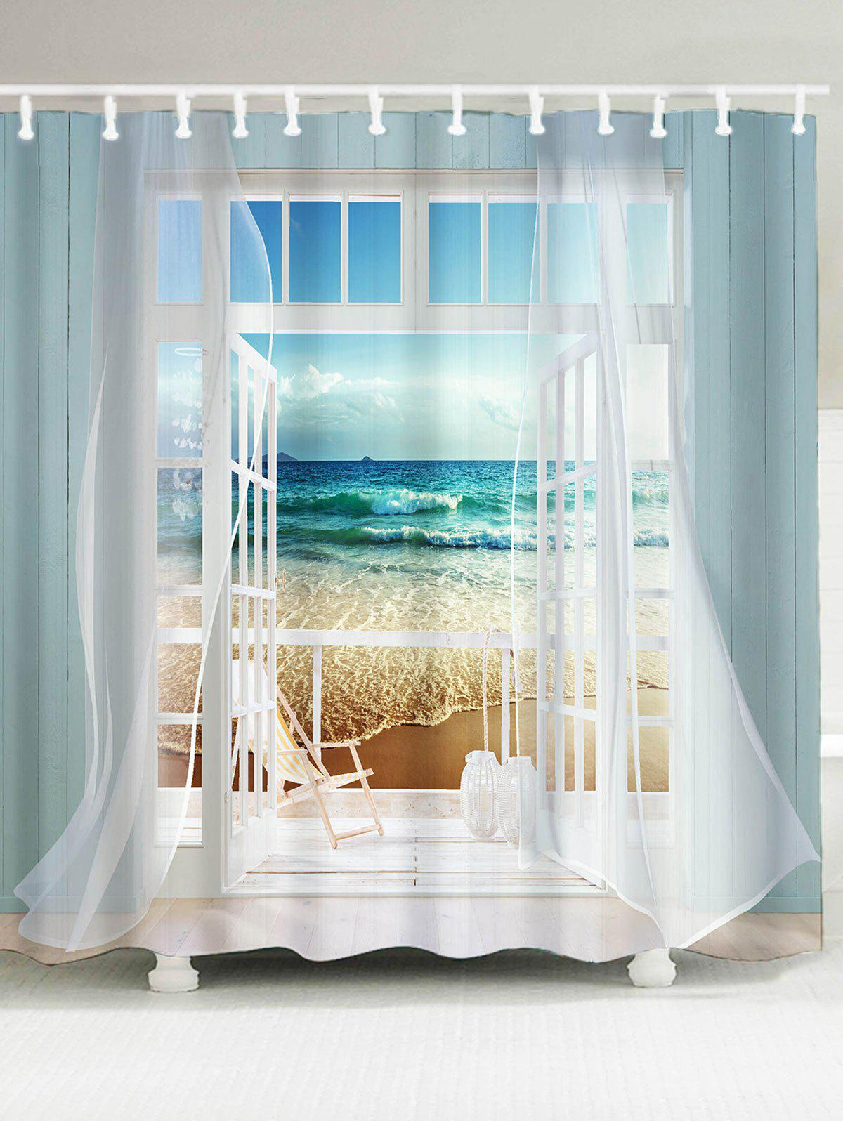 Waterproof Window Frame Ocean Scene Printing Shower CurtainHOME<br><br>Size: W71 INCH * L71 INCH; Color: COLORMIX; Products Type: Shower Curtains; Materials: Polyester; Pattern: Window; Style: Scenic; Number of Hook Holes: W59 inch*L71 inch: 10; W71 inch*L71 inch: 12; W79 inch*L71 inch: 12; Package Contents: 1 x Shower Curtain 1 x Hooks (Set);