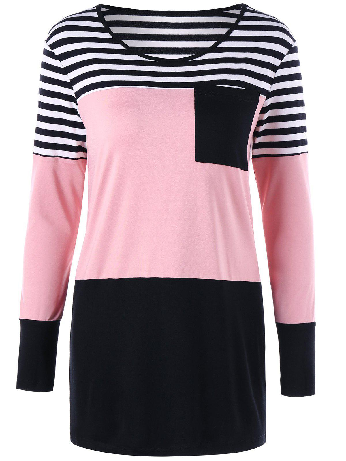 Patch Pocket Slim Striped Tunic TopWOMEN<br><br>Size: 2XL; Color: LIGHT PINK; Material: Polyester,Spandex; Shirt Length: Long; Sleeve Length: Full; Collar: Round Neck; Style: Casual; Pattern Type: Striped; Season: Fall,Spring,Summer; Weight: 0.2600kg; Package Contents: 1 x Top;
