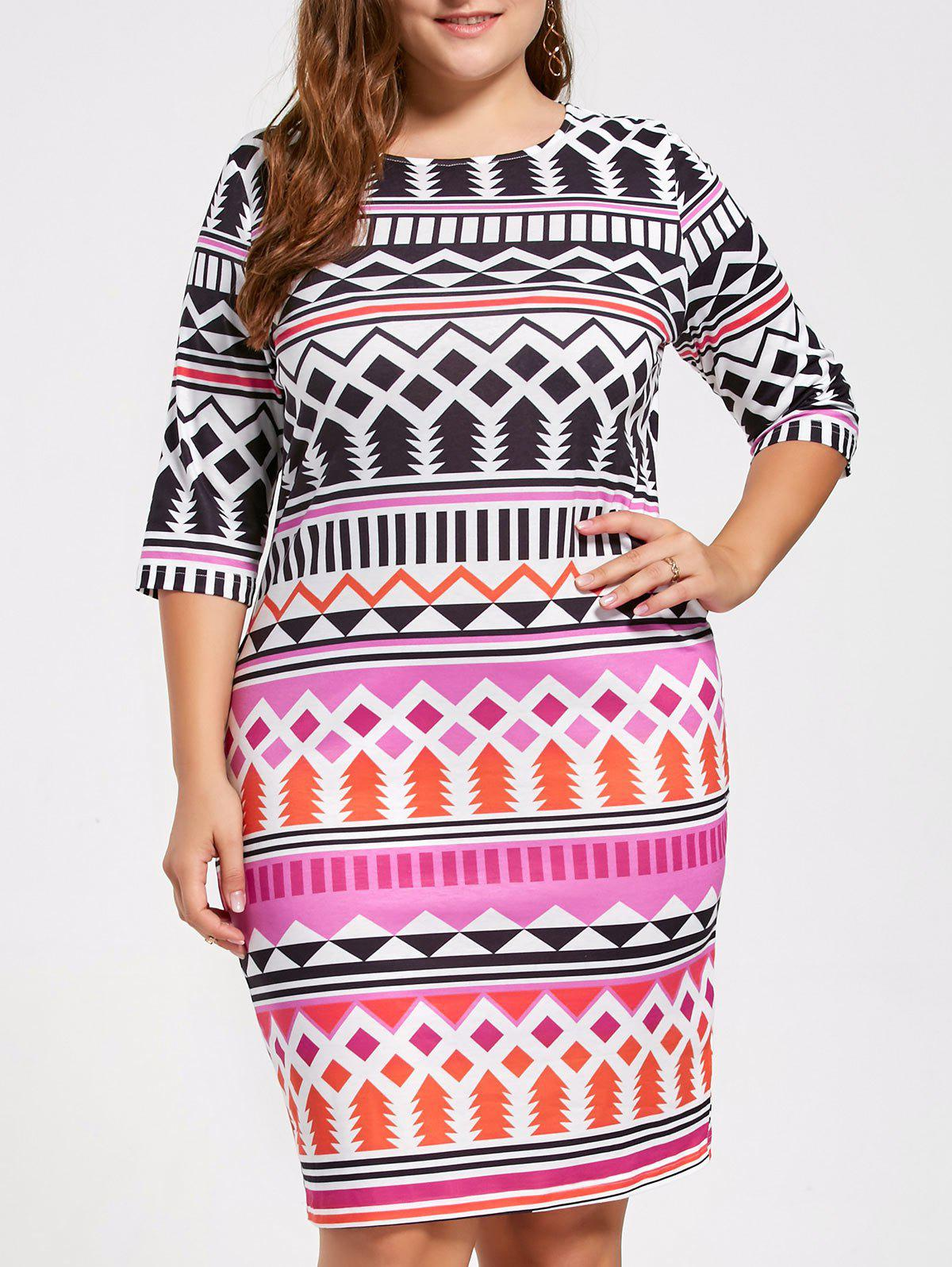 Plus Size Crew Neck Tribal Pattern DressWOMEN<br><br>Size: 3XL; Color: COLORMIX; Style: Brief; Material: Polyester,Spandex; Silhouette: Sheath; Dresses Length: Knee-Length; Neckline: Round Collar; Sleeve Length: Half Sleeves; Pattern Type: Geometric,Tribal Print; With Belt: No; Season: Fall,Spring,Summer; Weight: 0.3000kg; Package Contents: 1 x Dress;