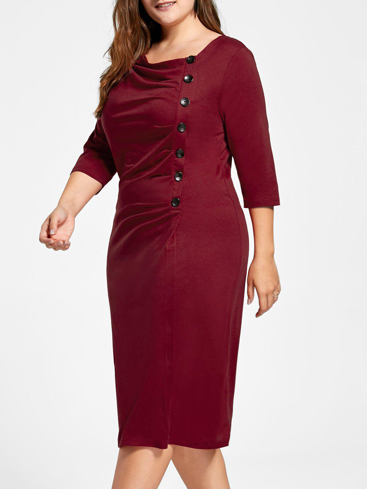 Ruched Plus Size Knee Length Sheath Formal DressWOMEN<br><br>Size: 4XL; Color: RED; Style: Cute; Material: Polyester,Spandex; Silhouette: Sheath; Dresses Length: Knee-Length; Neckline: Skew Collar; Sleeve Length: 3/4 Length Sleeves; Pattern Type: Solid; With Belt: No; Season: Fall,Spring; Weight: 0.3600kg; Package Contents: 1 x Dress;