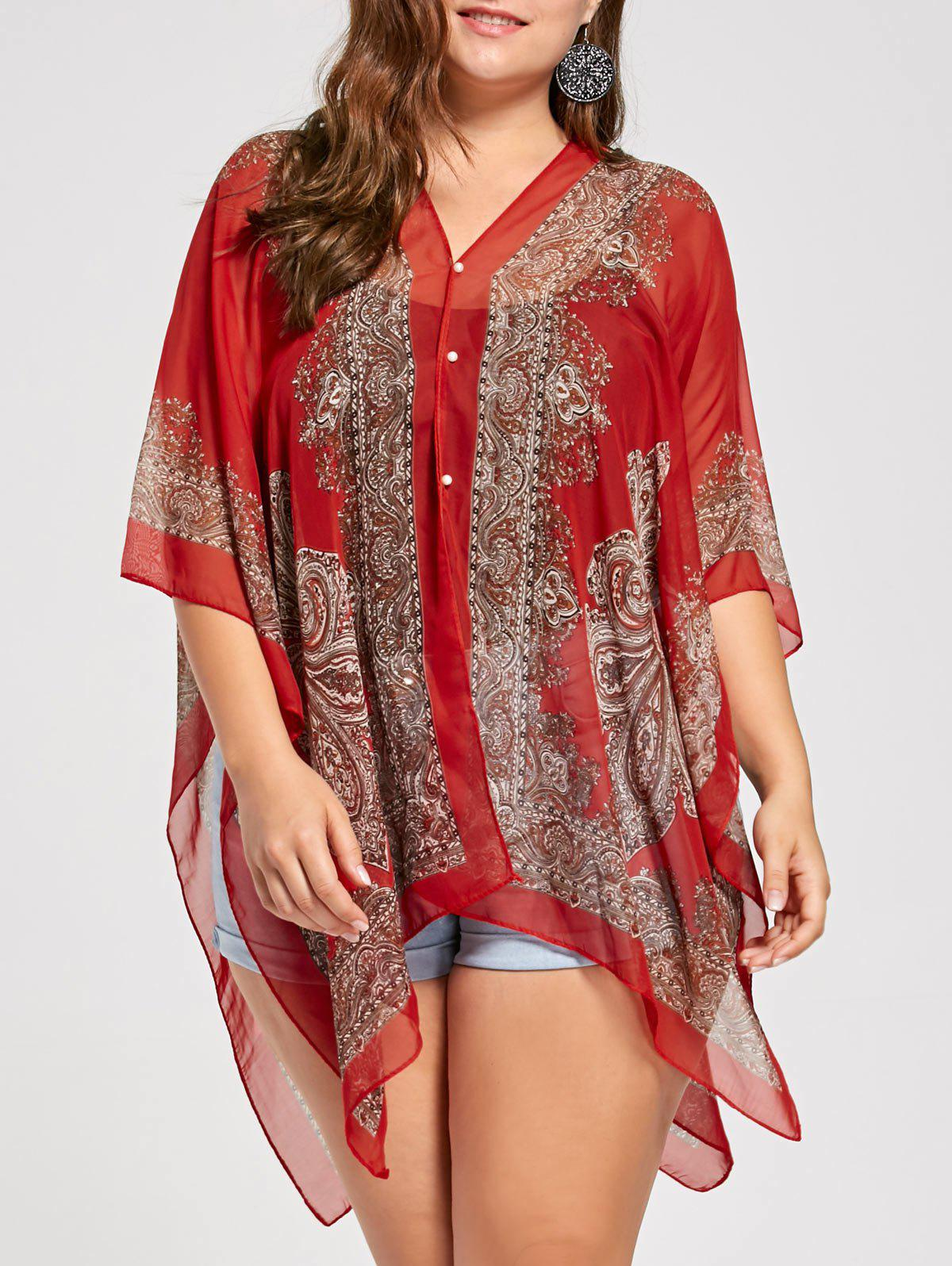 Best Beaded Plus Size Printed Chiffon Poncho Top